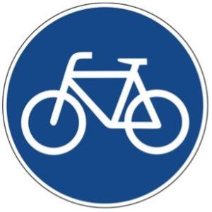 Blaues, rundes Schild mit weißem Fahrrad als Farradweg Beschilderung.